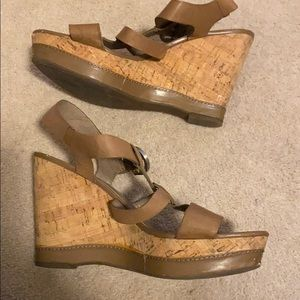 Cork heel tan wedges